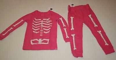 Ropa De Niña (0-24 Meses) Nuevo Gap Niñas Esqueleto Halloween Rosa 2 Piezas Pijama 3 Años Pantalones