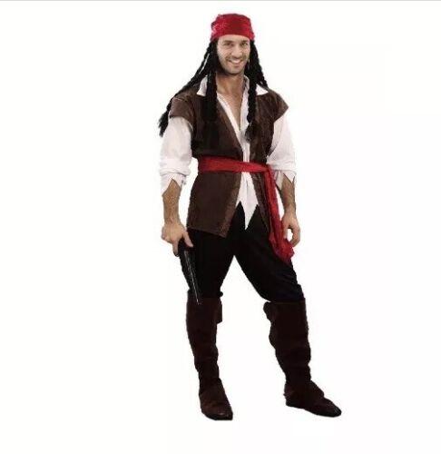 Mens Caribbean Pirate Captain Jack Sparrow Book Week Costume Adult Fancy Dress