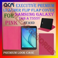 ACM-EXECUTIVE LEATHER FLIP CASE for SAMSUNG GALAXY TAB A T355Y COVER STAND-PINK