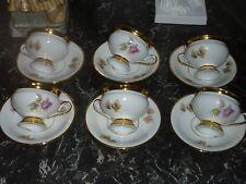 6 ANCIENNES TASSES ET SOUCOUPES CAFE MOKA PORCELAINE FINE MILIEU XIX EME RUSSE