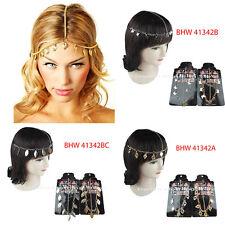 1pc Women Gold Silver Rhinestone Metal Chain Elastic Jewelry Head wrap Headband