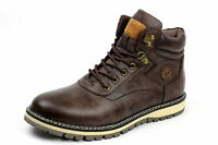 Mens Biker Smart Lace Up Ankle Retro Chelsea Boots Casual Work Shoes Size UK NEW