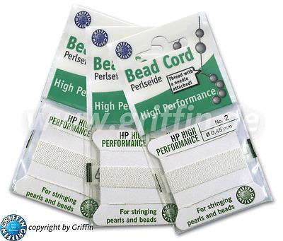 Perlseide High Performance  0,3 bis 0,9 mm  weiß mit 1 Nadel 1,00€//M