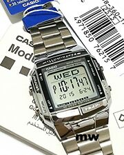 New Genuine Casio Silver Databank Watch DB-360-1AV Stainless Steel LED Light