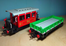 Playmobil RC Eisenbahn / Train ~ Roter Personenwaggon & gr. Flachbordwagen(4017)