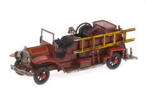 Feuerwehr Blechmodell rot Metall Modell Oldtimer Feuerwehrauto Auto Leiterwagen