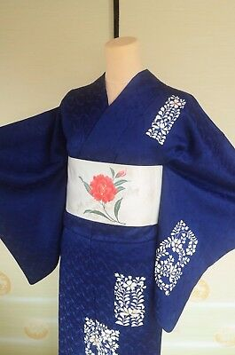 Kimono Silk Tsukesage Women & Silk Nagoya Obi SET/ Navy Japanese vintage /172