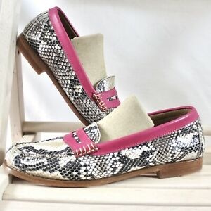 Bass Weejuns Snakeskin Penny Loafer pink trim Women Size ...
