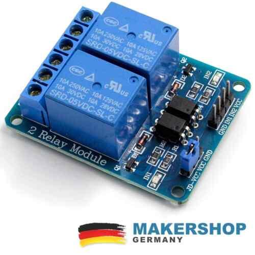 2 Kanal Relais Modul Arduino Raspberry Pi Relaiskarte 5V 230 Volt 230V Board ...