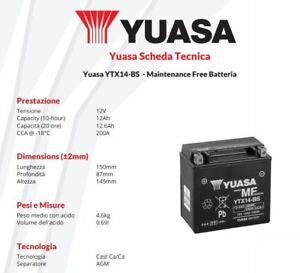 Motorcycle Battery Yuasa Ytx14 Bs 12v 12ah Bmw K1300s 1300 Cc