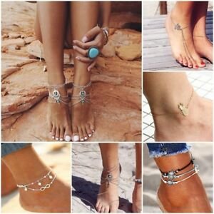 New-Silver-Gold-Plated-Layer-Anklets-Foot-Feet-Bracelets-Chain-Leg-Jewelry-Beach