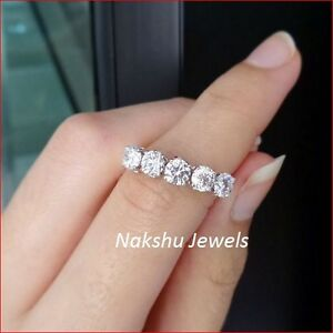 d98d94d994273 5 Stone Moissanite Ring 2.50Ct White Round Engagement Ring 925 ...