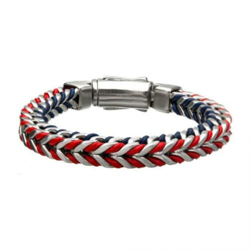 Details about  /Stainless Steel American Flag Matte with Blue and Red Leather Bracelet