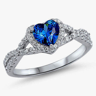 USA Seller Infinity Heart Ring Sterling Silver 925 Jewelry Blue Sapphire Size 13
