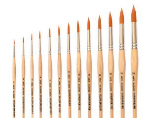 Kuenstlerpinsel-Gr-1-bis-20-Golden-Nylon-fuer-Aquarellfarbe-Acrylfarben-Tempera