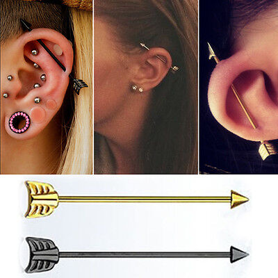 """PVD Plated Steel Industrial Barbell Arrow End 16g 4mm Cone 1 3//8-1 1//2/"""" Length"""