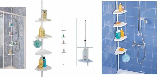 4 TIER TELESCOPIC SHOWER BATHROOM STORAGE CORNER CADDY SHELF UNIT ORGANISER
