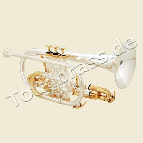 Koffer versilberte Cornet Brassband Eastman® ECR-601S Trigger Kornett in B Bb