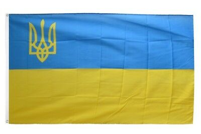Fahne Ukraine mit Wappen links Flagge ukrainische Hissflagge 90x150cm