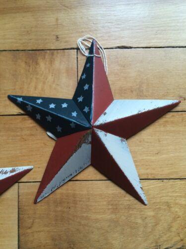"1 ONE 8/"" PATRIOTIC AMERICAN STAR PRIMITIVE COUNTRY G8T W BLACK BARN STARS"