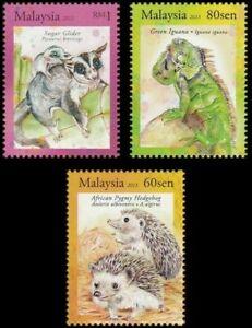 SJ-Exotic-Pets-Malaysia-2013-Animal-Hedgehog-Glider-Iguana-stamp-MNH