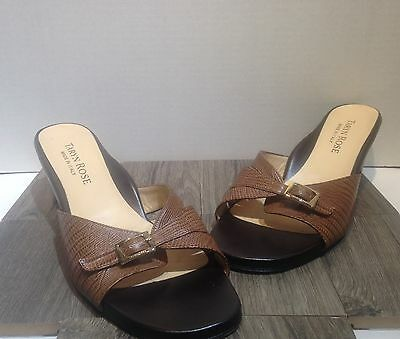 taryn rose brown slides size 9