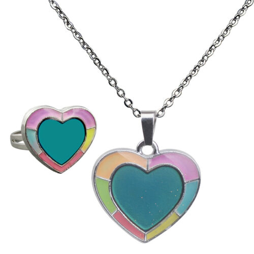 Emotion Feeling Temperature Jewery Set Change Color Pendant Necklace Rings