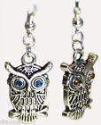 antiqued silver tone OWL bird - rhinestone EARRINGS Jewellery