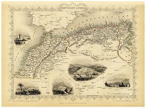 Old Vintage Map of Northern Africa richly illustrated Tallis 1851