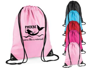 Personalised Name Swims like a Mermaid Swimming Kids Bag Sports Bag Girls Bags