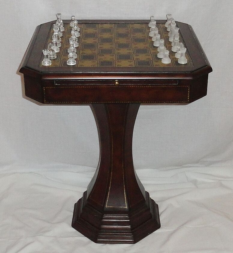 Hammary Furniture Pedestal Pedestal Pedestal Chess Game Table Wood Leather Brass w Glass Pieces 08 590e67