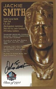 Jackie Smith St. Louis Cardinals Football Hall Of Fame Autographed Bust Card