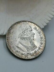 MEXICO UN PESO MORELOS 1966 XF-AU BEAUTIFUL TONE 10% SILVER COIN M26