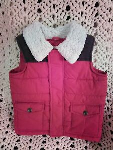 ec74b5055f0 Old Navy Baby Boys Vest Red   Brown with Sherpa Collar Size 12-18 ...