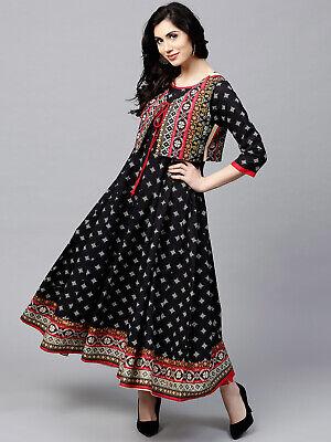 Ladies Indian Bollywood Kurti Printed women eid Party Wear Long Tunic Kurta ak42