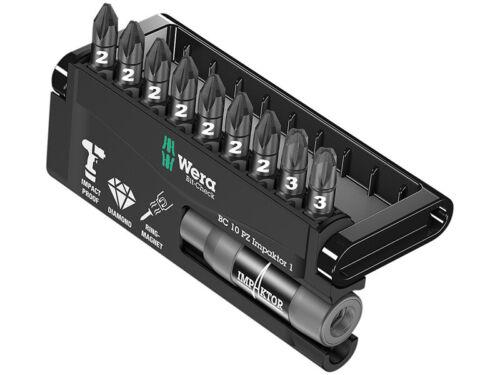 Wera Impaktor Bit-Holder /& Impaktor Diamond Pozi Screwdriver Bits Set 9-Piece