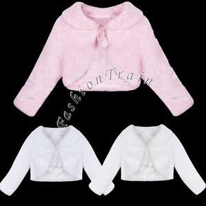 Details About Warm Winter Shawl Bridal Baby Girls Kid Jacket Wrap Faux Fur Shrug Bolero Coat