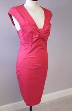 TED BAKER FITTED BOW FRONT DRESS SIZE 12/3 - PINK