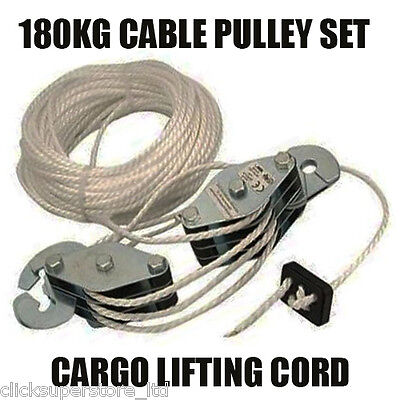 180kg Lifting Cable Cargo Pulley Set /& 19.8m Quality Strong Poly Rope Warranty