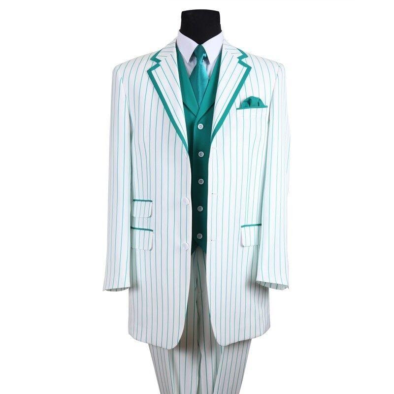 Men's 3 Button Striped Suit w  Solid Vest 3pc Set 5908 White Turquoise