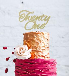 Image Is Loading Twenty One Cake Topper Glitter Gold 21st Birthday