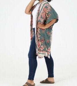 New Angie Kimono 2X Green Floral Boho Peasant Boho Plus Size