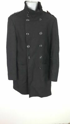 Coats & Jackets PräZise Mens Voeut Milano Up Winter Black Coat Jacket Double Breasted M Medium