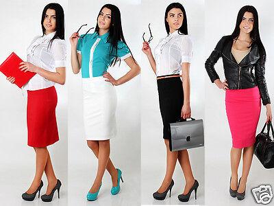 klassisch Damen Office Rock mit Futter hohe Taille Stift Größen 8-16 FA111