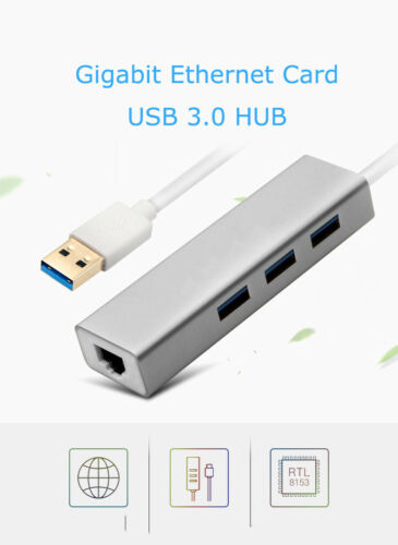 1to4 USB3.0 HUB+RJ45 Gigabit Ethernet GBE NIC Adapter for Apple Windows Laptop