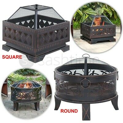 Outdoor Fire Pit BBQ Firepit Brazier Garden Table Stove Patio Heater Grill Poker  | eBay