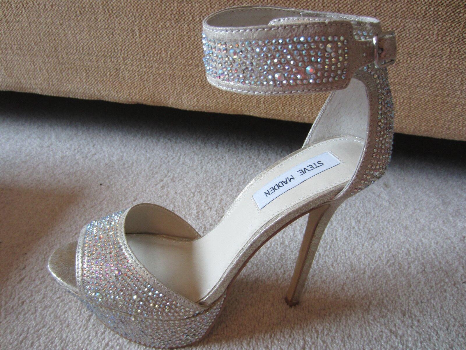 Steve Madden Damenschuhe Heels SILVER Metallic Carriie Platform Heels Damenschuhe Rhinestone BLING 8 b5c8cb