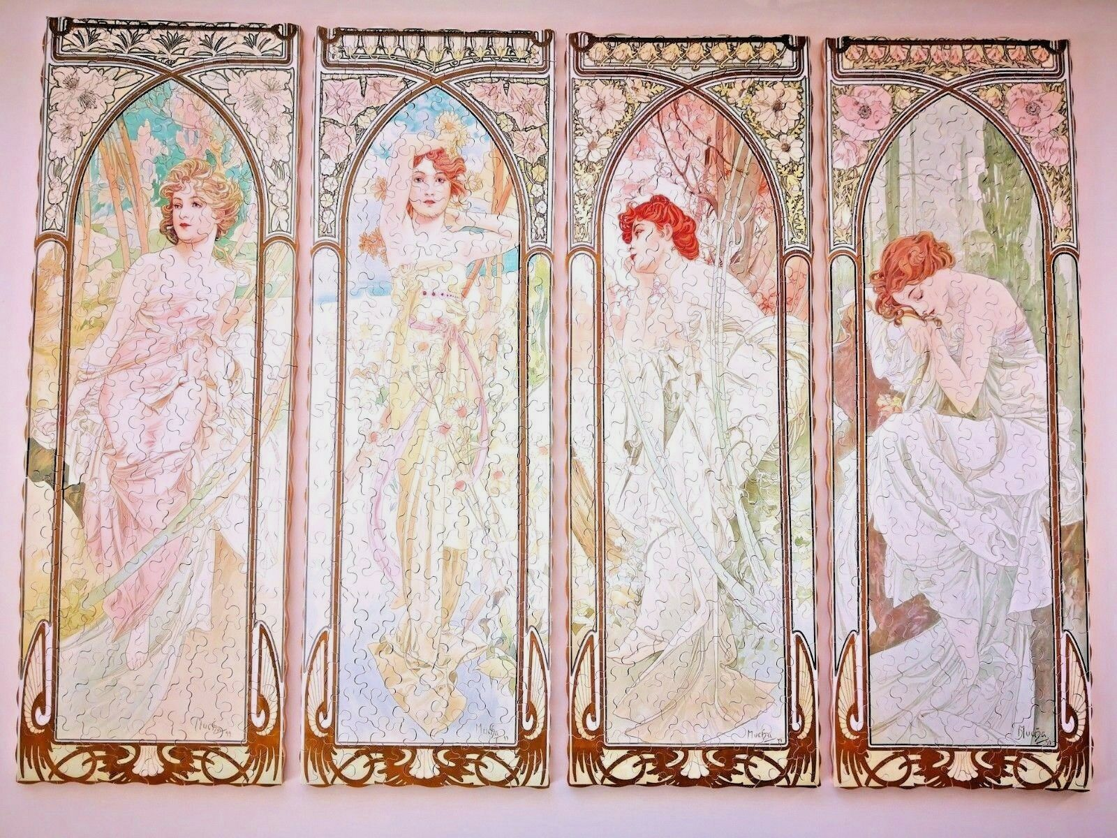 Nuovo Hand Cut Wooden Jigsaw Puzzle TIMES OF THE DAY by Alphonse Mucha 750-800 pcs
