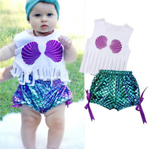 USA Baby Girl Kids Toddler Outfits Clothes T-shirt Tops+Shorts Pants 3PCS Set