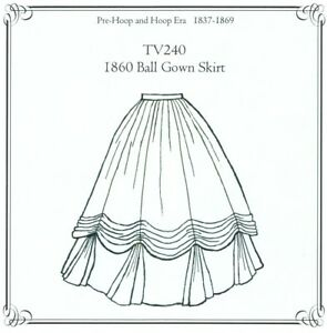Sewing-Pattern-for-1860-039-s-Ball-Gown-Skirt-Truly-Victorian-TV240-new-uncut